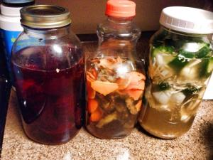 Beet kvass, homemade fruit rind fermented cleaner, and Master Tonic.