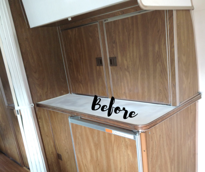 Before photo of kitchen counter of 1974 Airstream Argosy before remodeling. Contains all the original Airstream parts