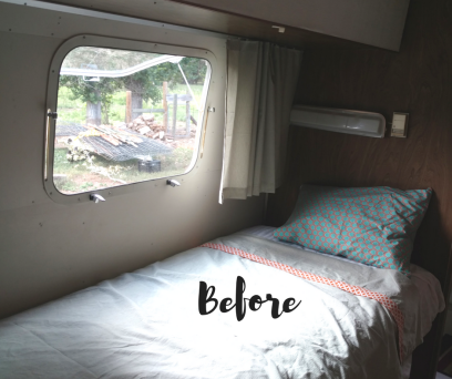Before photo of twin bed of 1974 Airstream Argosy before remodeling. Contains all the original Airstream parts