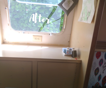 After photo of cabinets of 1974 Airstream Argosy following remodeling. Contains all the original Airstream parts, repainted with Milk Paint and non-toxic top coat