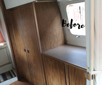 Before photo of cabinets of 1974 Airstream Argosy before remodeling. Contains all the original Airstream parts