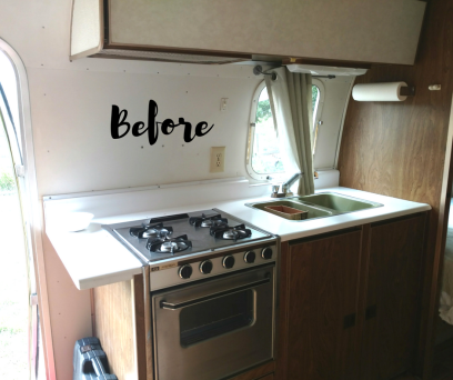 Before photo of kitchen of 1974 Airstream Argosy before remodeling. Contains all the original Airstream parts