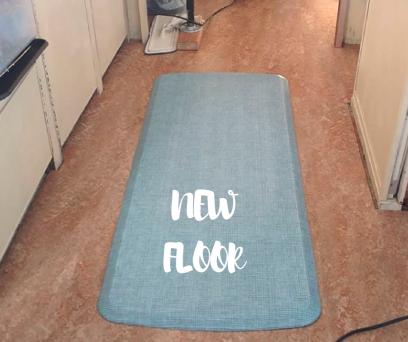 Marmoleum Shitake flooring, blue GelPro floor mat in 1974 Airstream Argosy